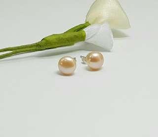 Peach Freshwater Pearl Stud Earrings