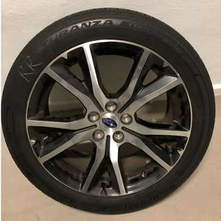 Enkei Rims Subaru Toyota Wish  17x7 PCD 5x100 8.9KG Only Include Bridgestone Turanza