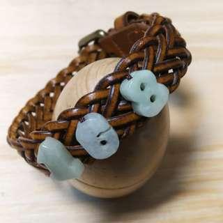 🚚 編織真皮玉飾手環