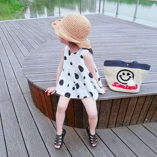 🚚 春夏新款 韓版 女童黑白點點簡約氣質娃娃衫上衣