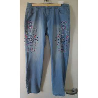 Skinny Jeans with Embroidery Pattern - Brand New!!