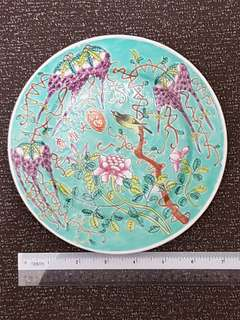 Late Qing famille rose turqoise plate.