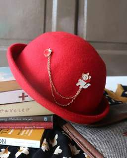 WOLFIE RED HAT BOWLER