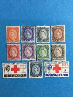 St. Vincent 1955 QE 2 9V Used Short Set and  1963 Red Cross Centenary 2V Used Set (11 Stamp)