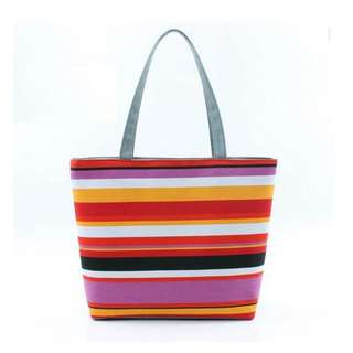 Bag/ Casual Tote Bag/ Shoulder Bag - Rainbow Strip