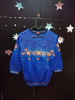 Baju blouse wanita bordir bunga biru