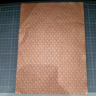 Chiyogami A4, golden waves on red (origami paper)