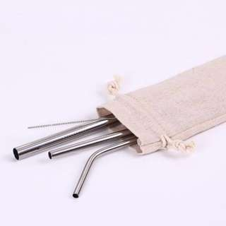 Reusable Stainless Steel Metal Straws - 3 piece set + 1 brush (with pouch)