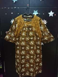 Dress batik wanita katun coklat