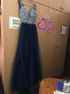 Evening Gown dinner gown navy blue sexy