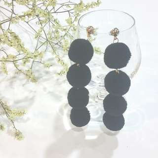 { Bold - Black Fluffy Pom Pom Gold Dangling Earstuds Ear Studs Earrings Jewelry }