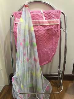 Baby cradle pink and mosquito net