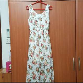 Brand New Floral White Chiffon Maxi Dress