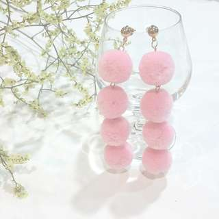 { Bold - Pink Fluffy Pom Pom Gold Dangling Earstuds Ear Studs Earrings Jewelry }