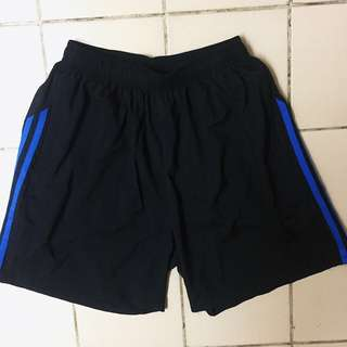 Men's Drifit Sports Work out Shorts Size Medium Black with Blue Stripes with Pocket Zipper Inclosure