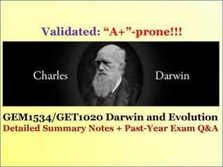 Actual Past-Year Midterm & Finals Q&A and Detailed Summary Notes (GEM1536/GET1020 Darwin and Evolution)