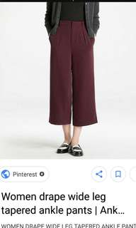 Uniqlo drape wide leg ankle tapered pant