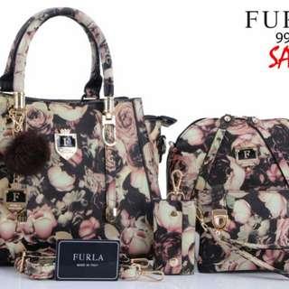 FREE ONGKIR!! - SET 2 IN 1 FURLA Calista Flower Taiga leather 9918*