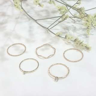 { 5 Rings Set! Minimalist - Gold Thin Faceted Rings, Crystal Studded, Wavy }