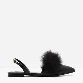 CHARLES & KEITH FURRY POINTED SANDALS IN BLACK