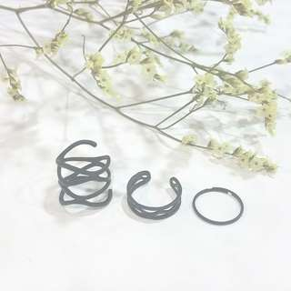 LAST SET! { 3 Rings Set - Black Rings }