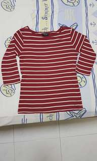 DP Striped Boatneck Top in Maroon