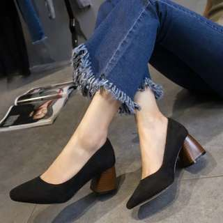 [PO] Suede Square Toe Block Heels