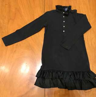 Ralph Lauren Black Long Sleeved Ruffled Shirt Dress