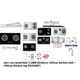 Hood and hob + double bowl undermount kitchen sink + kitchen tap = kitchen package - hood and hob package - kitchen sink package