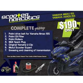 Complete Servicing Package for Yamaha NMax 155, Yamaha Aerox 155