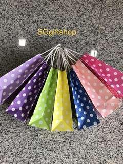 Colorful polka dot paper bag, children goodies favors, birthday goodie bag, event door gift bag
