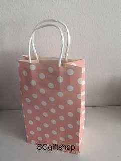 Light pink polka dot paper bag, children goodies favors packages, art and craft paper bag