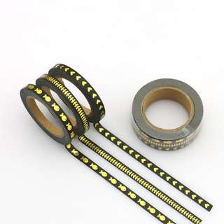 3 rolls of skinny washi tapes Black and Gold Pattern Combo Pack QC101241 - Each Roll is 5mm x 10m