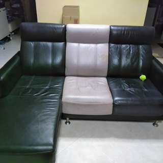 Half leather L-shaped sofa