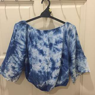 Tie-dye blue and white off shoulder top