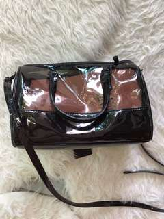 New Katie Judith black patent Boston bag