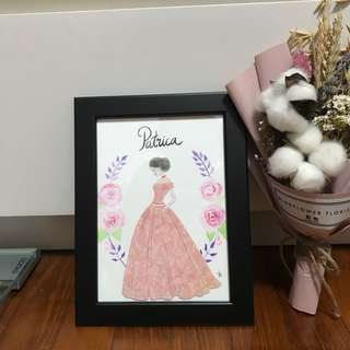 Lady Art with frame & paint & name
