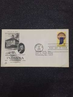 US 1966 Indiana Statehood FDC stamp