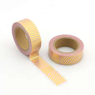 Gold Lines on Pink QC101242 Washi Tape 15mm x 10m