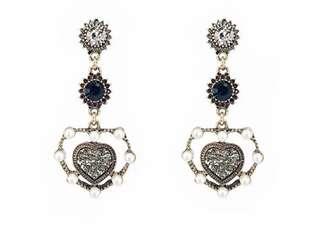 PO - Statement Vintage Rhinestone Crystal Heart Love Pendant Long Earrings