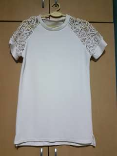 Oversized white lace top