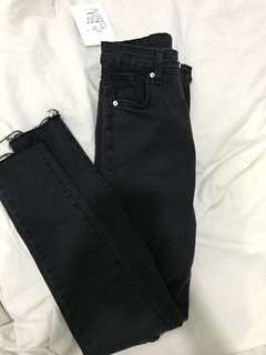 high waisted black ripped jeans