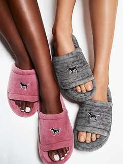 Victoria's Secret Pink Limited Edition Cozy Soft Slipper - Grey