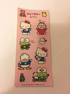 Sanrio vintage 人物紀念大賞 1991 貼紙 大口仔 Keroppi 肥鴨 Hello kitty