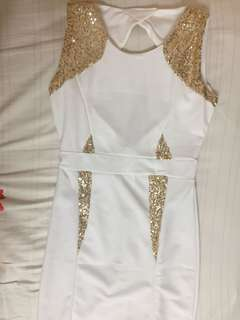 gold sequin white bodycon dress