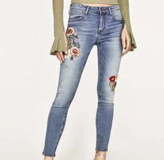 Zara Jeans Embroidered