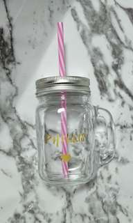 Mason Jar Personalized Customized Glass Jar Mothers Day Gift WATERPROOF Option of straw with cover