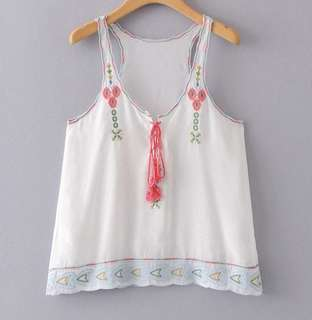PO - Floral Embroidery Razer Back Top