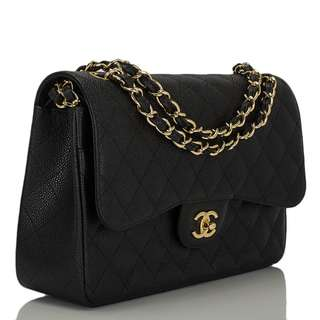 Chanel black caviar classic jumbo double flap gold hw