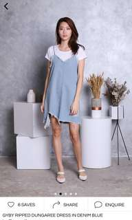 Gyby Ripped Dungaree Dress in Denim